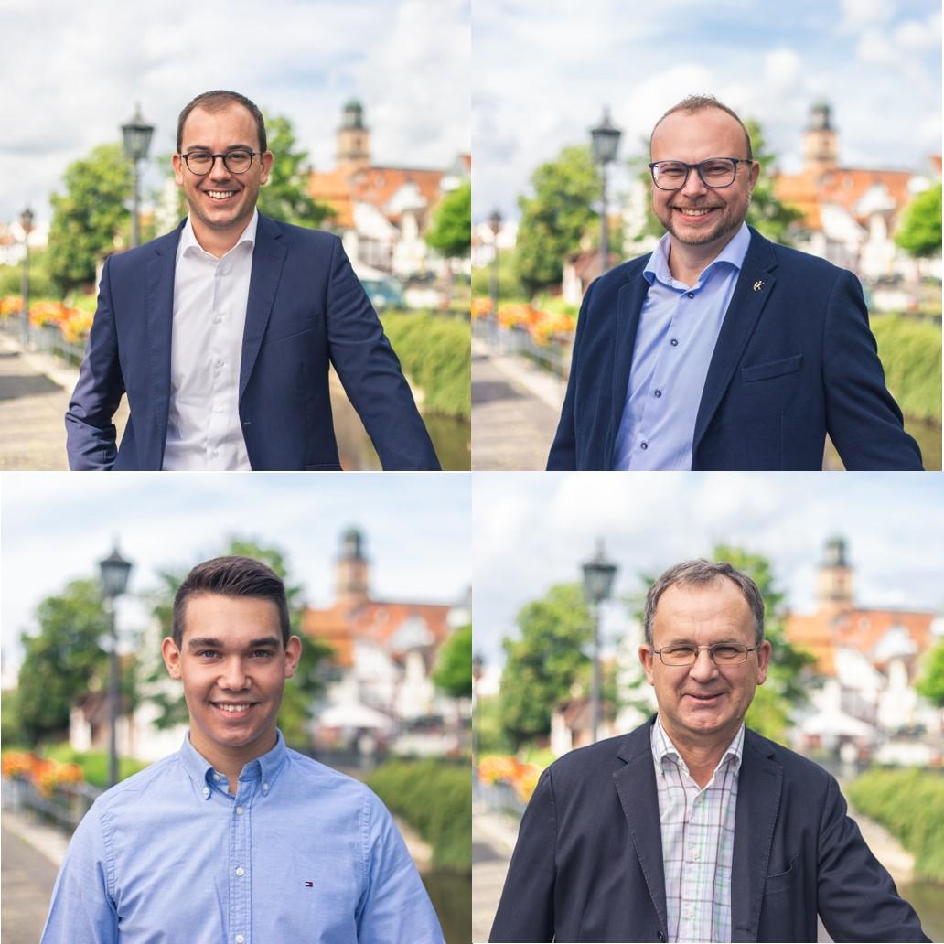 Stellten beim digitalen Mitgliedertreffen das Wahlprogramm der Lauterbacher CDU vor (von links, oben): Spitzenkandidat Felix Wohlfahrt und Gunther Sachs sowie Joshua Östreich und Uwe Meyer (unten, von links)